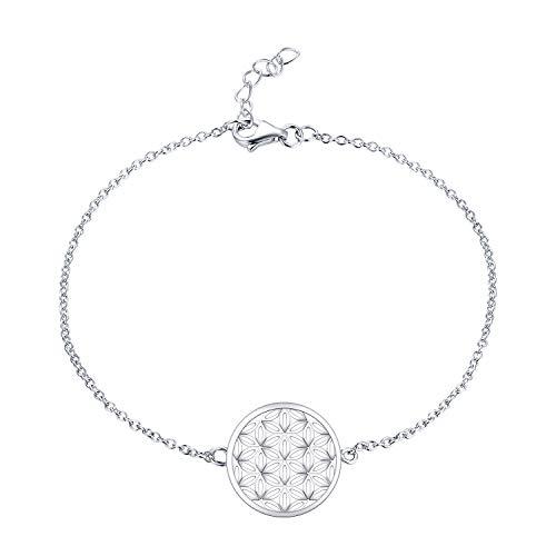 JO WISDOM Damen Armband Blumelebens Silber 925 Blume des Lebens Fußkettchen (Weißgoldfarbe)