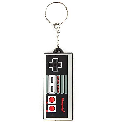 Classic NES Controller Keychain Rubber, Black, One Size