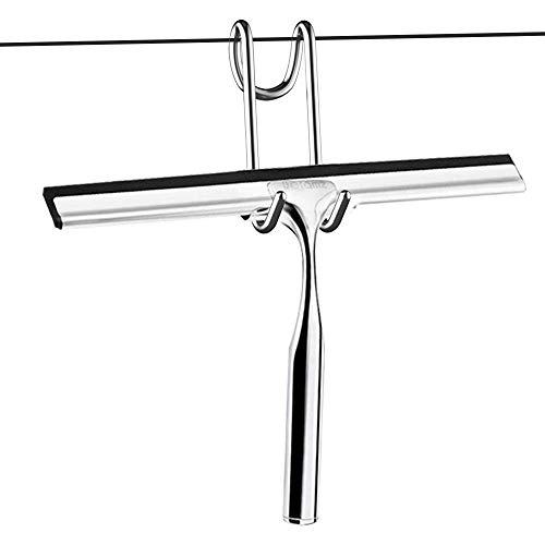 Limpiacristales Ducha Extractor de baño y Ducha Borrador Acero Inoxidable Limpiacristales con Colgador de Pared Baño Borrador