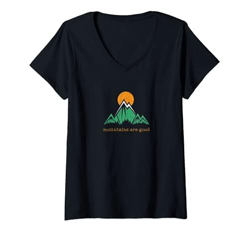 Mujer Montaña Vintage Trail Running Camiseta Cuello V