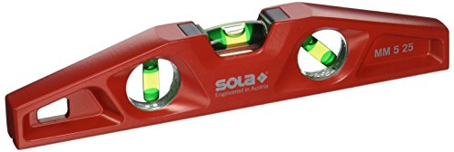 Sola MM 5 25 Cast Aluminum Magnetic Torpedo Level, Red