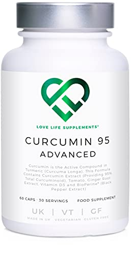 LLS Curcumin 95 Advanced (Formerly Curcumin C3 Advanced)   High Strength Curcumin (the Active Component of Turmeric) containing ONLY ACTIVE CURCUMIN with 95% Curcuminoids + BioPerine®, Vitamin D3, Tomato and Ginger Root   60 Capsules   Produced in the UK under GMP License