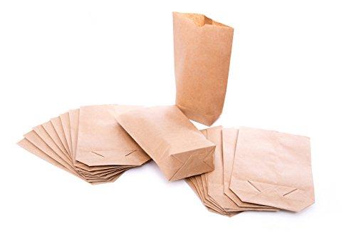 1a-Qualität - 10 kleine braune Papier-Beutel Papiertüten natur Kraftpapier Tüten. Boden-Beutel 14 x 22 x 5,6 cm Geschenktüten bio Adventskalender Verpackung Geschenke