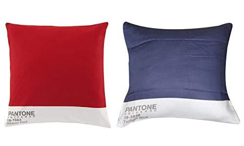 Bassetti Pantone Juego de 2 cojines – Relleno para cojines 40 x 40 cm – Par de cojines sofá – Paquete de 2 cojines rojo y azul