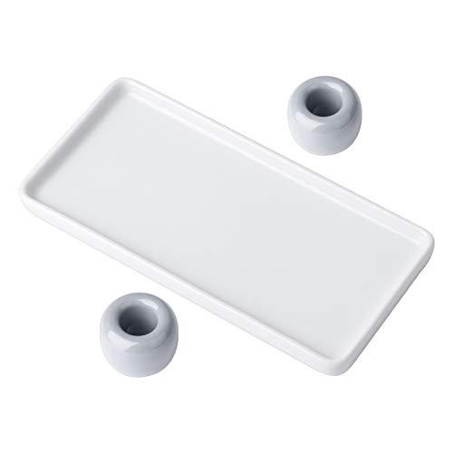 DEXIDUO 1 Bandeja de mármol y 2 Soportes para cepillos de Dientes, Cepillo de Dientes para baño Base de cerámica Bandejas de Porcelana Blanca Soporte Rectangular Soporte Compartimento Sanitario
