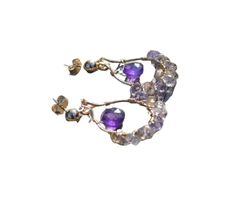 Free shipping on posting reviews Ametrine and Amethyst Raleigh Mall Gold Hoop Wrapped Wire Earrings
