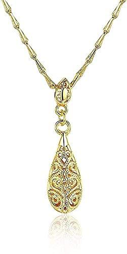 NC110 Collar Mujer Collar Forma de Gota de Agua Patrón Patrón Colgante Cadena Oro y Oro Rosa y Oro Blanco Collar de Mujer Encantador Collar de Regalo