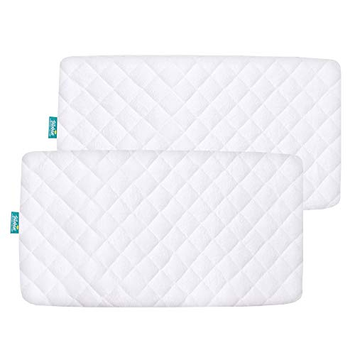 Bamboo Bassinet Mattress Pad Cover Compatible with Chicco LullaGo Portable Bassinet & Dream on Me Lacy Portable 2-in-1 Bassinet, 2 Pack, Waterproof, Ultra Soft Sleep Surface, Breathable and Easy Care