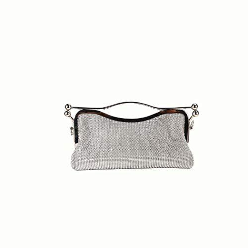 Ai-yixi Diseño Ligero y Elegante Hipsters Mujeres con Diamantes y una Bolsa de Hombro de Cadena de Gran Capacidad Pop Salvaje (Color : Silver, Size : 16 * 5 * 15CM)
