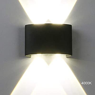 Pathson Modern Outdoor Wall Light, 4 LEDs Hallway Porch Wall Sconce, Up Down Wall Lamp Indoor Matte Black Wall Mount Light Fixture 4000K White Light