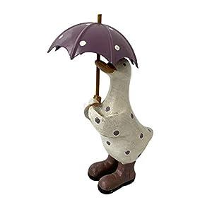 Darthome Ltd Lilac Polka Dot Duck & Umbrella Home Sculpture Statue Decorative Ornament Small 18cm