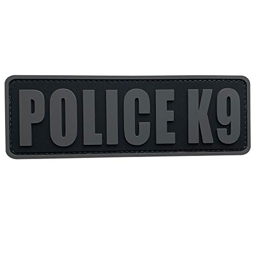 uuKen Police K9 Patch Grey Gray K-9 Tactical 6x2 inch PVC Patch for Service Dog in Training Working for Dog Harness Collar Vest(Black and Gray, M6'x2')
