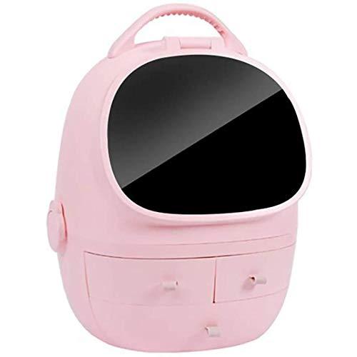 Caja de Almacenamiento de cosméticos LED, Productos para el Cuidado de la Piel Estante de joyería, Luz de Relleno Inteligente LED Espejo de Maquillaje de Alta definición de Gran Capacidad, Blanco
