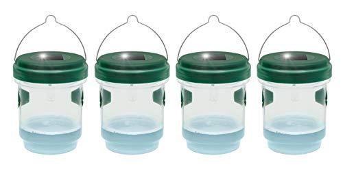 Gardigo 2 en 1 Trampa para el esfuerzo y Wenalle Juego de 4 con luz solar I LED lámpara atrae a los cansanos, un llenado con loctoff I para interior y exterior
