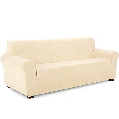TIANSHU Samt Sofabezug 4 sitzer,Soft Velvet Plush Couchbezug stilvolle Möbelbezüge Anti-Rutsch-High Stretch Sesselbezug(4 Sitzer,Beige)