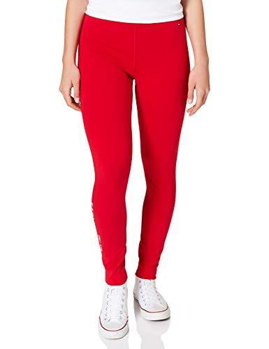 Tommy Hilfiger Damen Hilfiger Logo Legging Hose, rot, XS