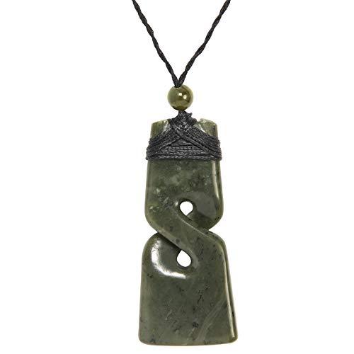 81stgeneration Men's Hand Carved Nephrite Jade Big Maori Single Twist Pikorua Toki Pendant Necklace