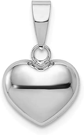 14k White Gold 3d Heart Pendant Charm Necklace Love Fine Jewelry For Women Gifts For Her product image