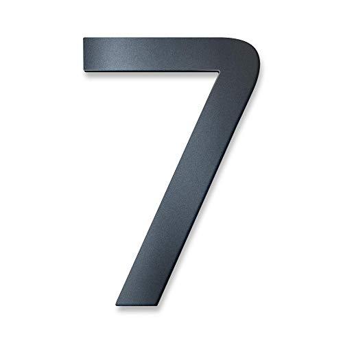 Metzler Hausnummer in Anthrazit RAL 7016 - Feinstruktur Pulverbeschichtet in Anthrazitgrau - inkl. Befestigungsmaterial – massiver Stahl - Schrift Bauhaus - Höhe 20 cm - Ziffer 7
