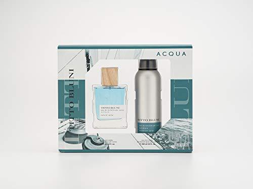 Titto Bluni, Acqua Estuche de Regalo para Hombre, Eau de Toilette 75 ml y Desodorante en Spray 200 ml