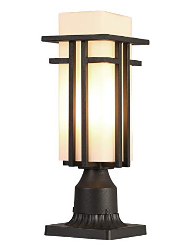 EERU Outdoor Post Light Waterproof Metal Frame with MilkWhite Frosted Glass, Pier Mount Outdoor Lighting Fixtures(with 3-Inch Pier Mount Base)Outdoor Post Lantern for Garden Backyard and Porch