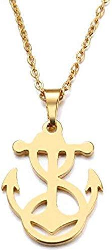 ZJJLWL Co.,ltd Collar Collar de Acero Inoxidable para Mujer Hombre Amante S Ancla sinuosa Color Dorado y Plateado Colgante Collar Joyería de Compromiso