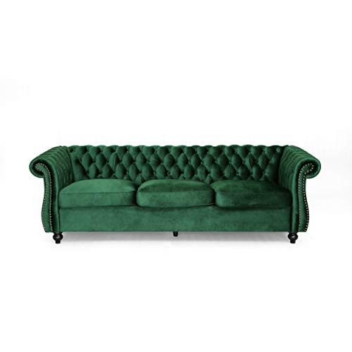 Vita Chesterfield Tufted Jewel Toned Velvet Sofa with Scroll Arms, Emerald