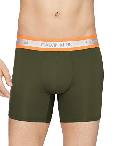 Calvin Klein Men's Underwear Neon Micro Boxer Briefs, Duffle Bag/Blaze Orange, X-Large