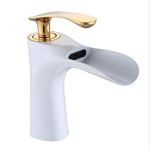 LCBLC Goldene Messing Deck Montiert Einhand-Einloch-Waschtischarmaturen Warmes Und Kaltes Wasser Waschbecken Wasserhahn