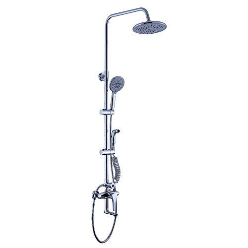 CLJ-LJ Juego de ducha de cuatro velocidades para cuarto de baño, mezclador de ducha de lluvia con ducha de mano y ducha de cobre, acabado cromado