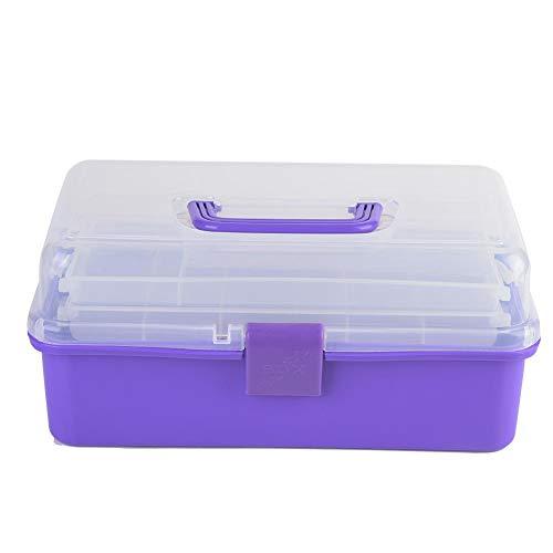 Caja de almacenamiento de suministros de arte grande translúcida de tres capas con tapa y asa, contenedor organizador multifunción, para manualidades y cosméticos(Púrpura)