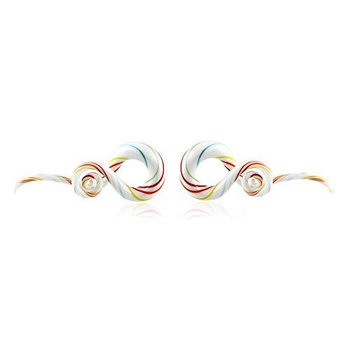 MQSS Expansor para Orejas en Espiral en Vidrio Orejas ensanchador expansor Estiramiento Grosor en disminución - 5 Pares - 5-14mmmulticolour-2 Pairs 5mm