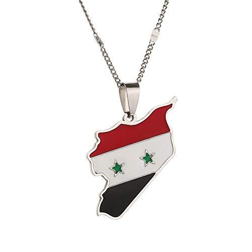YHHZW Collar Collares con Colgante De Bandera De Mapa De Siria De Moda De Acero Inoxidable Joyería De Mapa De Sirios - Plateado