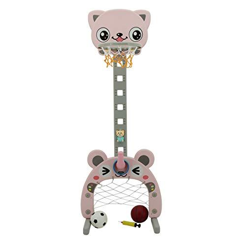 Sweety Toys 12725 Basketballkorb rosa 3 in 1 Produkt- Ringe werfen, Fußballtor, Basketball