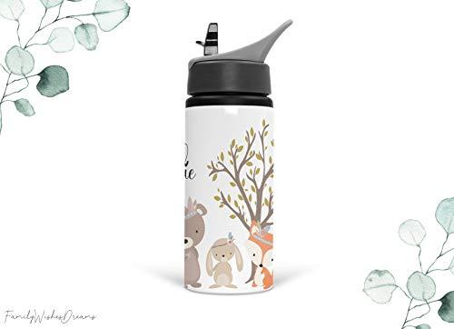 Trinkflasche 500ml Waldtiere Bär, Fuchs und Hase mit eigenem Namen (personalisiert) für Kindergarten, Ausflug und mehr