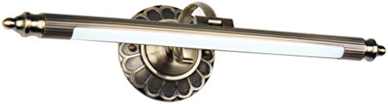 LED Spiegellampe Retro Spiegelleuchte Einstellbar Antik Metall Schminklicht Vintage Spiegelbeleuchtung Badezimmer Spiegelschrank Schminktisch Spiegellicht Wandleuchte,WarmWeißLight90cm16W