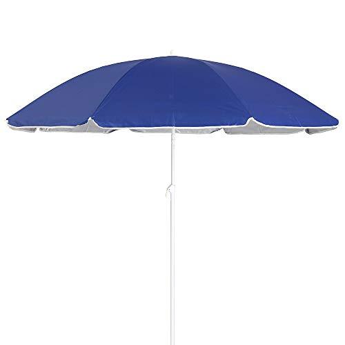 LOLAhome Sombrilla Playa Plegable Azul de Acero de Ø 200 cm