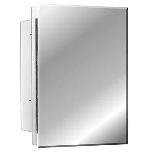"Mirrors and More Recessed Frameless Beveled Polished Edge Mirror Medicine Cabinet   Adjustable Shelves   Bathroom   Kitchen   16"" x 22"""