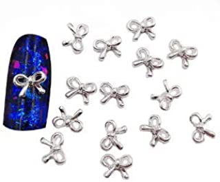 VIKSON INTERNATIONAL Hot Sell 3D Hollow Bow Tie Shape Shiny Alloy Nails Charms For Manicure Decoration (10 Pcs)