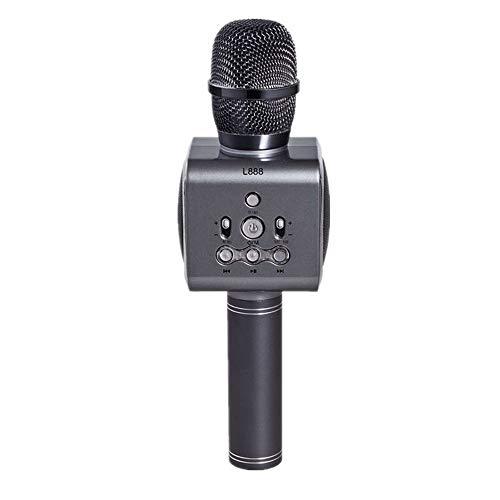 Microfono Karaoke Wireless Bluetooth Mini Home Ktv per Musica Riproduzione e Canto Altoparlante Player Selfie,Black