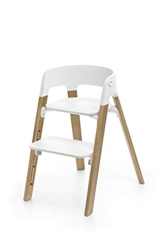 Chaise haute Steps blanche chêne naturel - Stokke