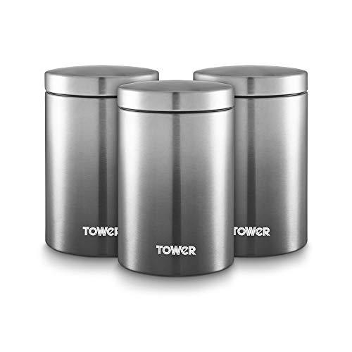 Tower T826071GRP Ombre Küche Vorratsdosen Tee Kaffee Zucker Set mit Stahlkörper und Ombre Design, Graphit, Einheitsgröße