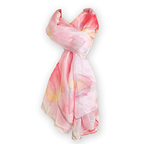 Whilsa Women Oversized Delicate Butterfly Tulip Flower Print Sheer Silky Chiffon Scarf (145x180cm) (Pink Tulip)