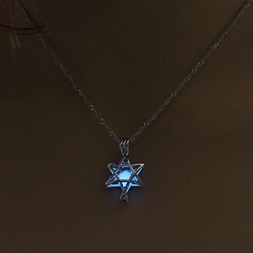 Anoauit Brillante en el Collar Oscuro Joyas de 3 Colores Forma de corazón Hueco Hueco Luminoso Rotating Beads and Stars Clavicle Cadena Collar Colgante Cielo Azul
