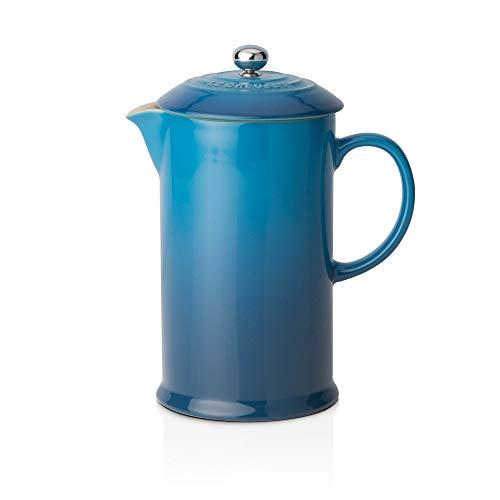 Le Creuset Kaffee-Bereiter/French Press mit Edelstahl-Presseinsatz, 800 ml, Steinzeug, Marseille (Blau)