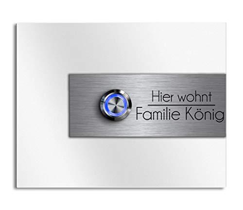 CHRISCK Design - roestvrij stalen deurbel met gravure naar wens LED-verlichting en motieven 13x10 cm belknop naam Model: König-DS