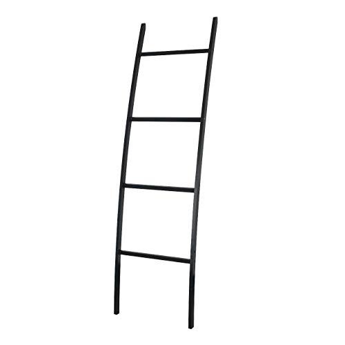 Handtuchleiter Handtuchständer Leiter Handtuchhalter Regal mit 4 Stangen, super eleganter Kleiderständer für Badezimmer Wohnzimmer, Bambus/Natur Braun (Schwarz)
