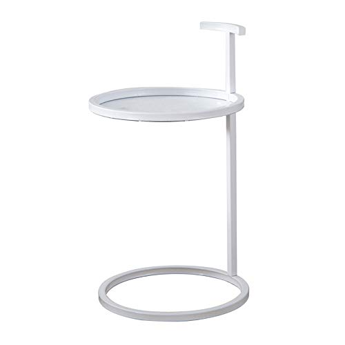 CHGDFQ Mesa auxiliar para sofá, esquina de hierro forjado, mini armario redondo extraíble minimalista (color blanco)
