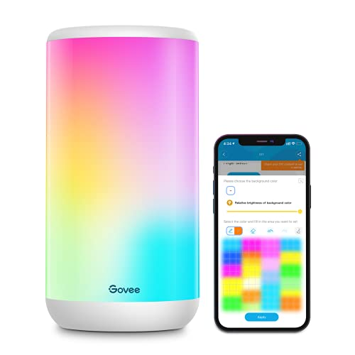 Govee Smart Table Lamp, App Control RGBIC Bedside Lamp with 37 Scene Modes and Music Mode, Dimmable Warm White Light Lamp for Bedrooms and Living Room, Works with Alexa & Google Assistant