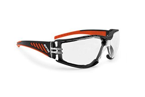 Bertoni Occhiali da Moto Antivento Avvolgenti con Lente Infrangibile Antiappannante - Spugna Antivento Removibile - AF149HD2